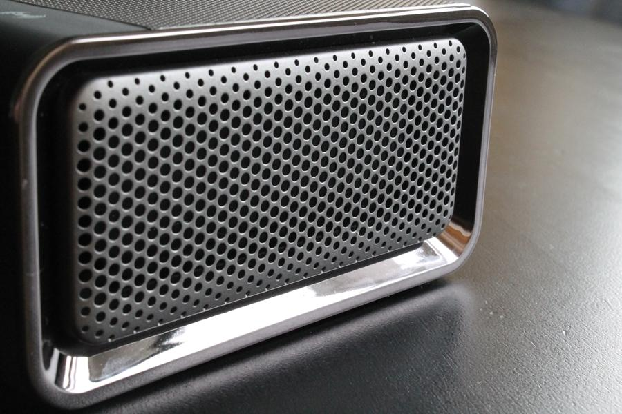 Grills on either side of the Sound Blaster Roar have larger perforations
