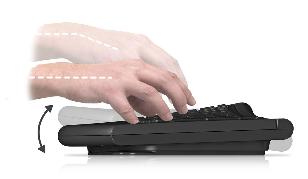 SmartFish Technologies' Engage Keyboard automatically changes its tilt to relieve stress on user's hands and wrists