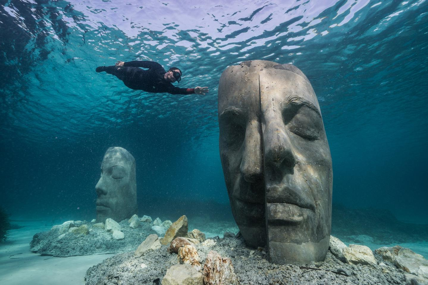 The Underwater Museum of Cannes consists of six head-like sculptures, each of which weighs 10 tons