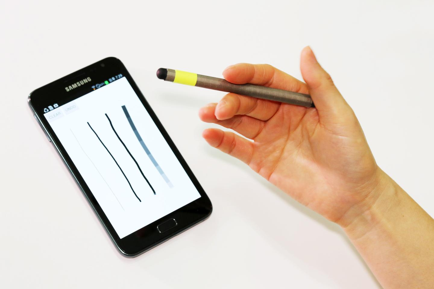 The MagPen contains a magnet which is detected by the phone's existing magnetometers