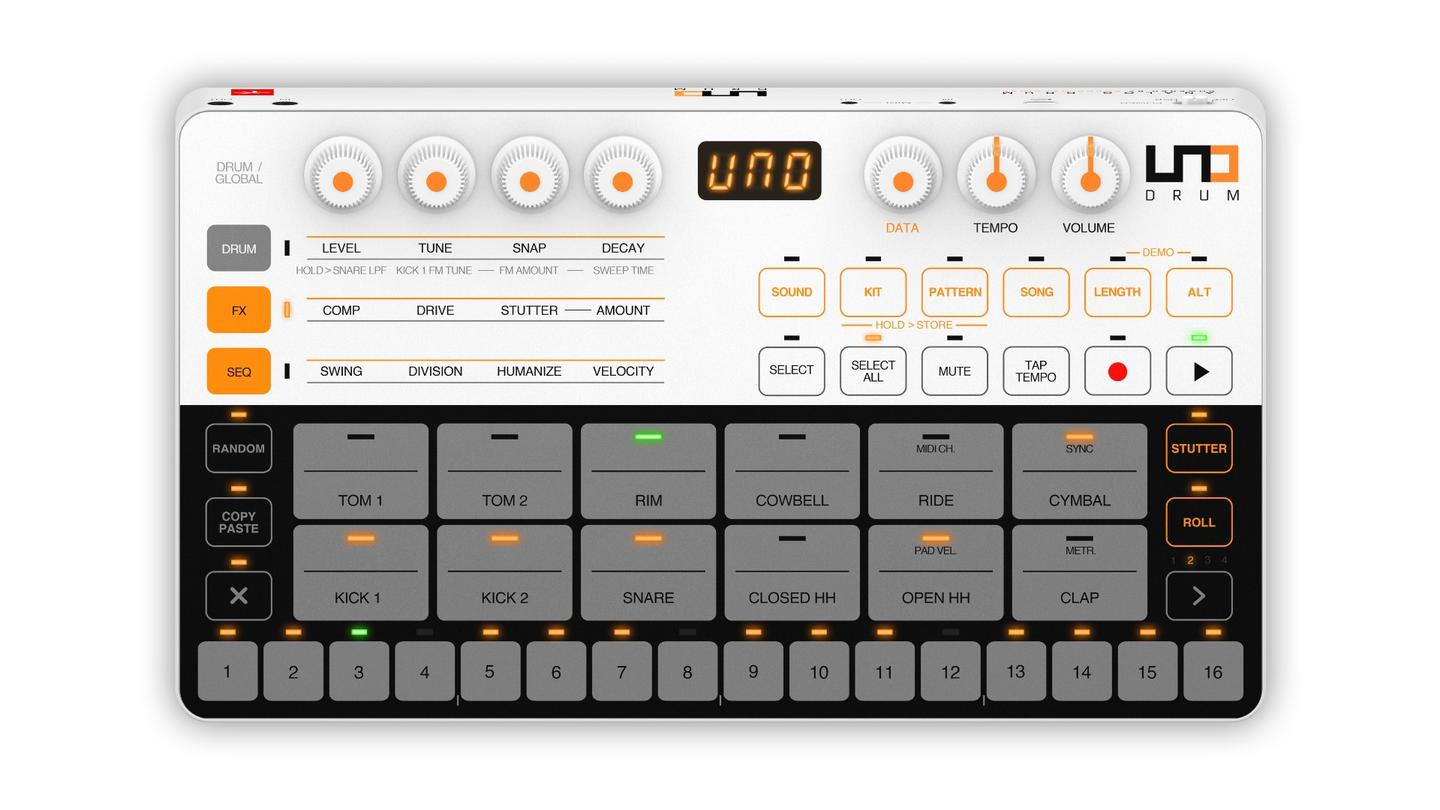 The UNO Drum's interface features 12 touch sensitive element pads with two velocity zones, including two kicks, a snare, closed and open high hats and a couple of toms