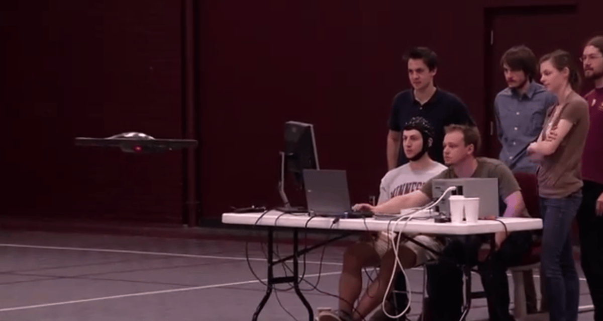 Subjects were trained to control the quadcopter by imagining opening or closing their fists