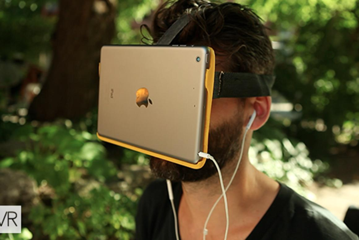 The AirVR headset combines with iOS devices to deliver a virtual reality experience