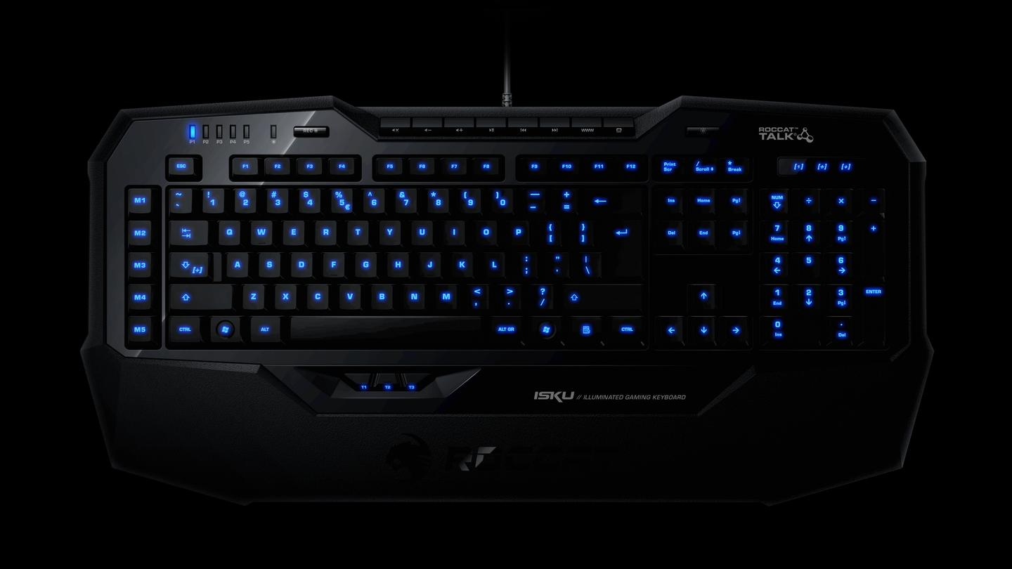 The new ROCCAT Isku Illuminated Gaming Keyboard back-illuminated keys for ease of use in low lighting (or in the dark) gaming
