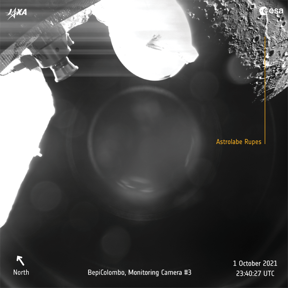 Image of Mercury's southern hemisphere shows sunrise on Astrolabe Rupes, a 250 km-long (155-mile) lobate scarp