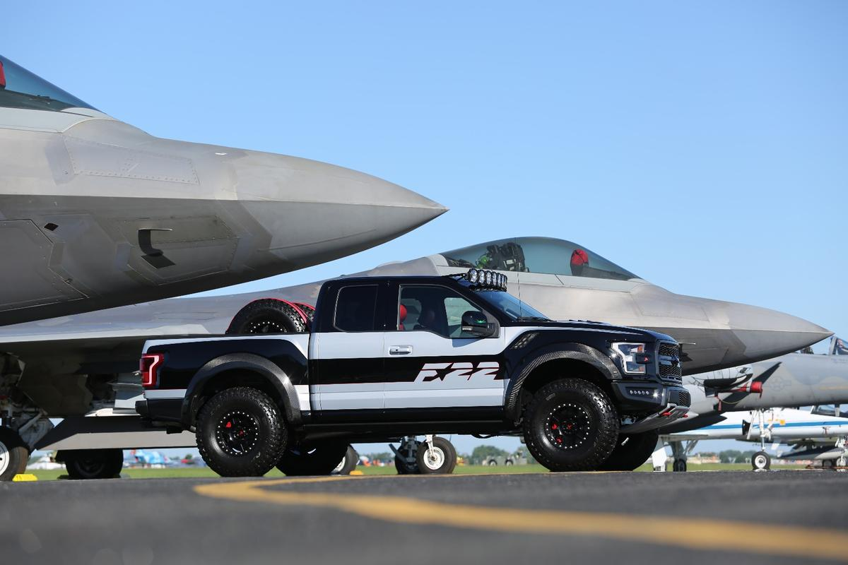 The F-22 F-150 Raptor features a special paint job and F-22 design cues