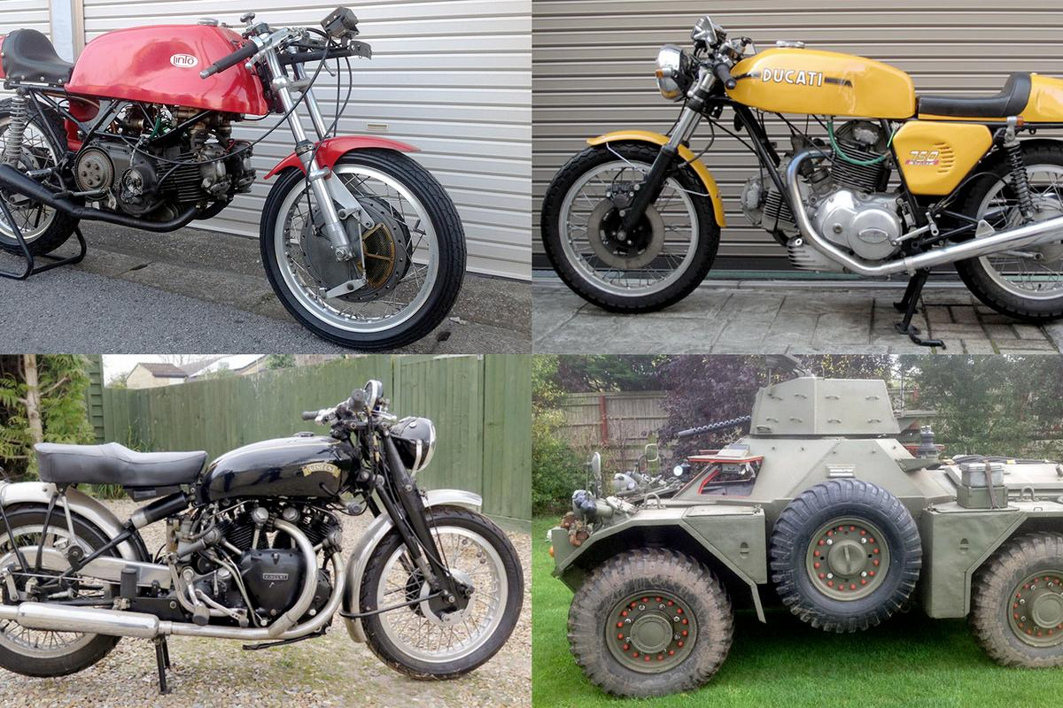Some choice vehicles on sale include a 1959 Daimler Ferret armored reconnaissance vehicle ($15,000–19,000), a matching numbers 1952 Vincent Black Shadow (£55,000–60,000, $80,000–88,000), a rare Linto 500 GP racer (£90,000–110,000, $130,000–160,000), a Ducati 750 Sport with NCR 750SS Desmo heads (£24,000–26,000, $35,000–38,000), some delectable vintage and veteran road machines plus a plethora of vintage racing bikes. We've picked the eyes out of the sale.