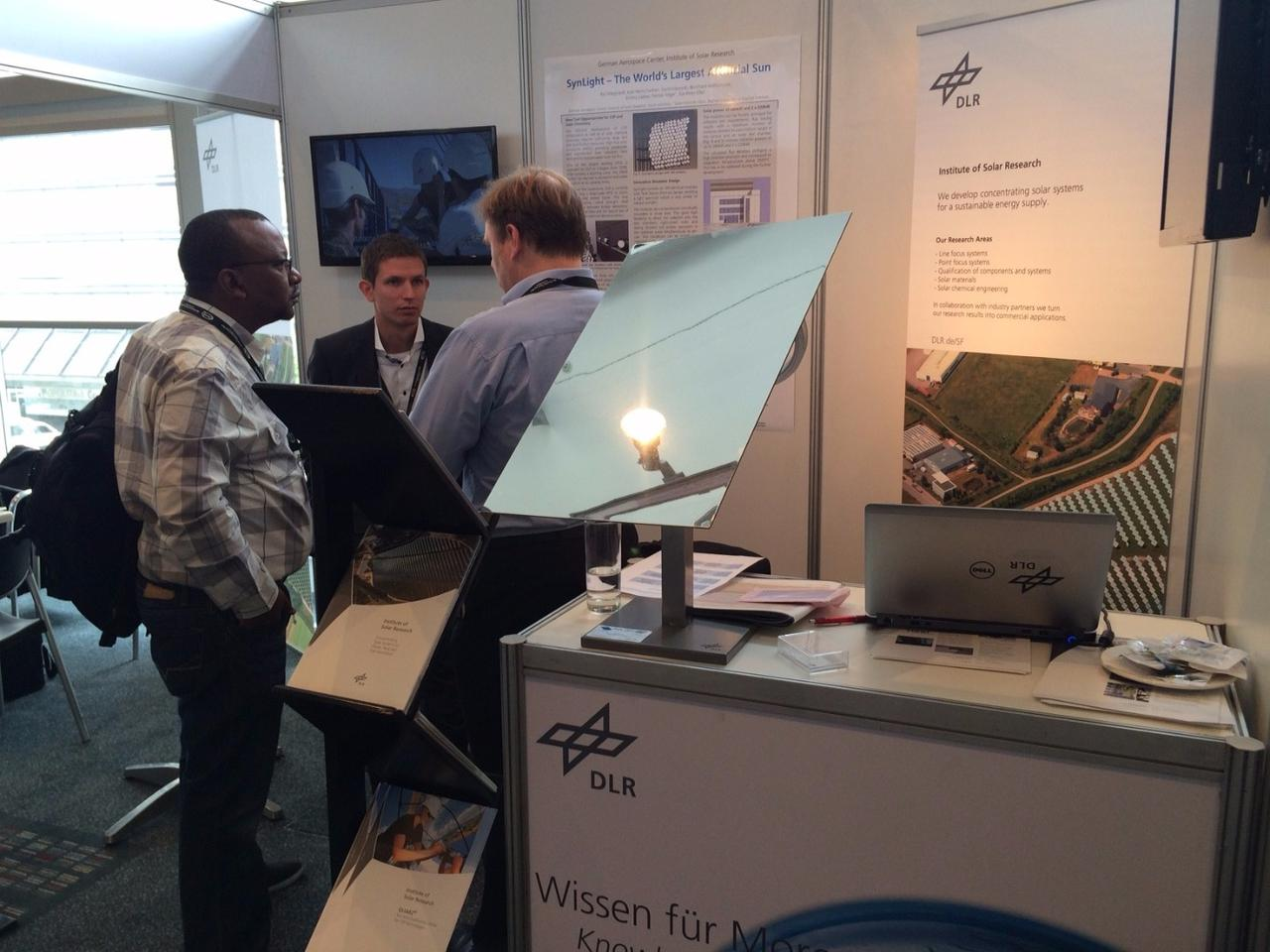 A section of Synlight on display at the international CSP conference in Cape Town, South Africa