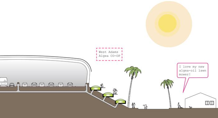 CO2 rich air could be captured and piped to algae ponds alongside the freeway