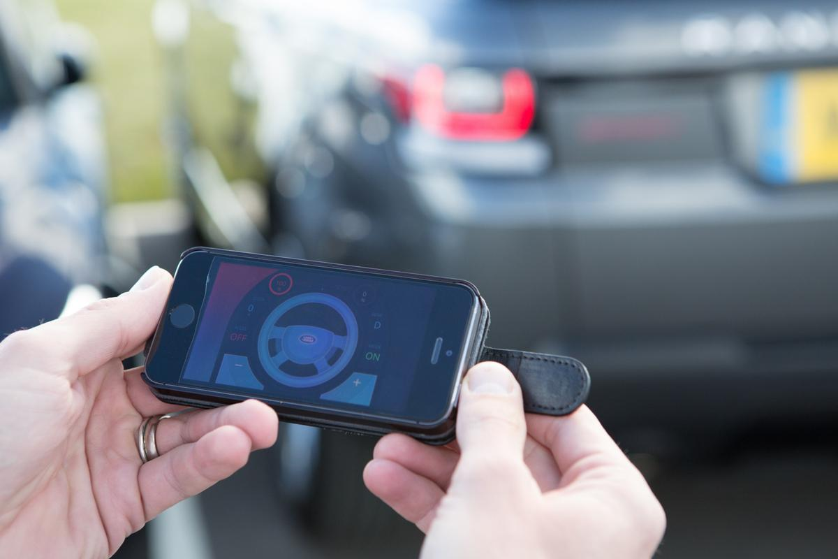 The app lets you start the car, and control steering, throttle and brakes up to a maximum of 4mph.