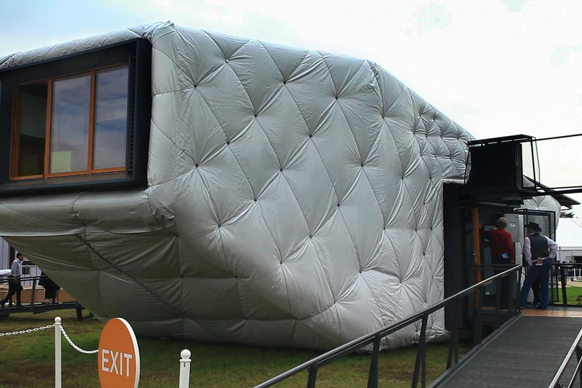 The CHIP House's most striking feature is the insulation fitted around the home, which makes it look like a giant mattress but also preserves the interior temperature