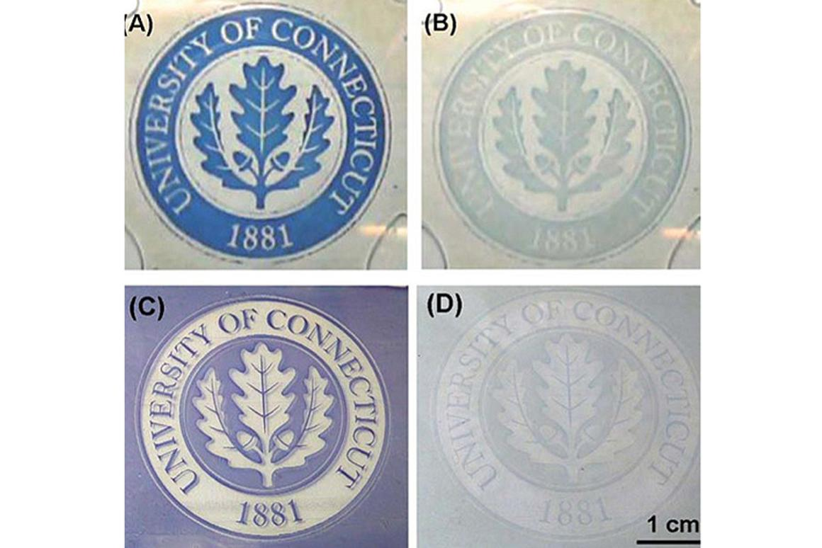 Examples of the contrast in colors that can be achieved using Sotzing's new electrochromic method