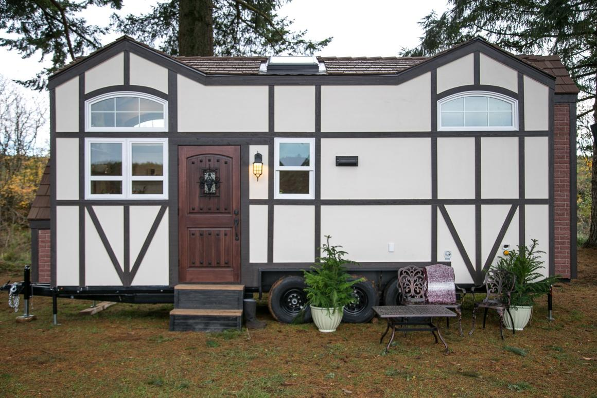 The unusual design of the Tudor-style tiny house came about because the owner wanted it to look and feel like you were back in time whenever you laid eyes on it
