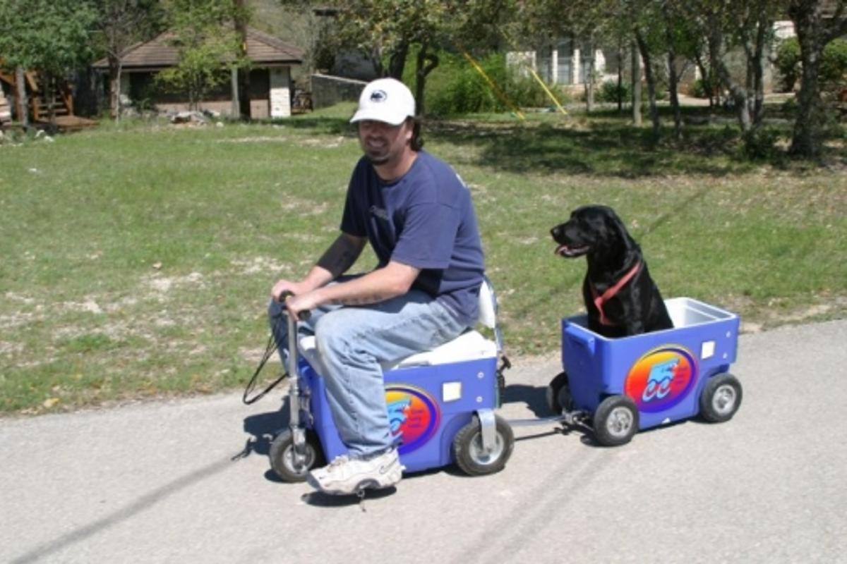 The Cruzin' Cooler carries everything from drinks to dogs