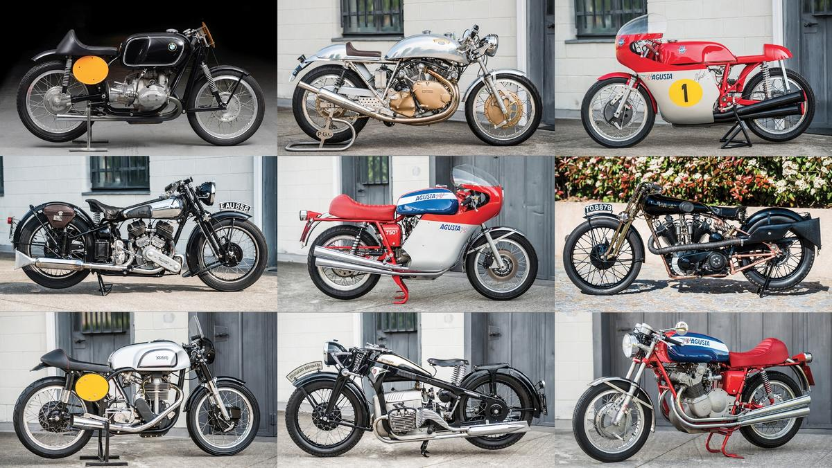 Some of the bikes thatwent to auction during the Villa Erba auction last Saturday