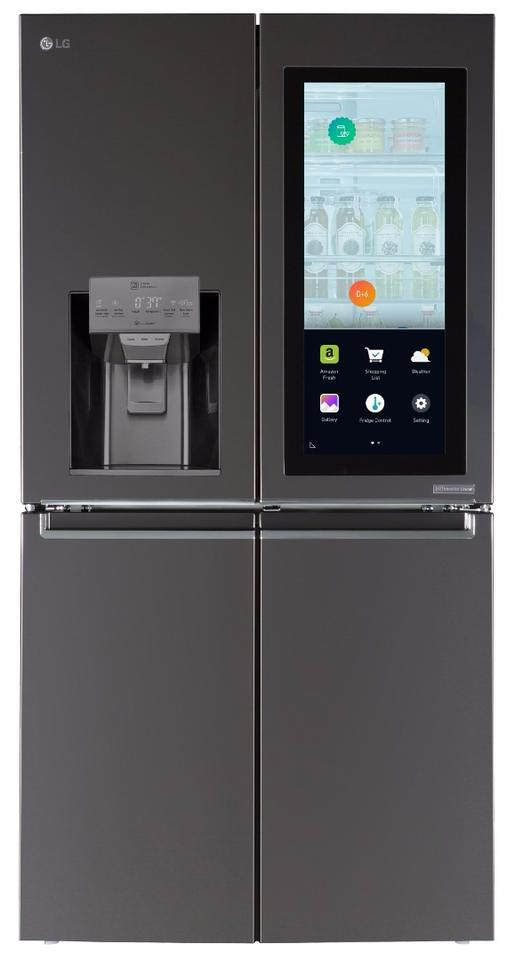 The LG Smart InstaView refrigerator sports a touch display, Wi-Fi-enabled features powered by webOS, and Amazon's Alexa voice service