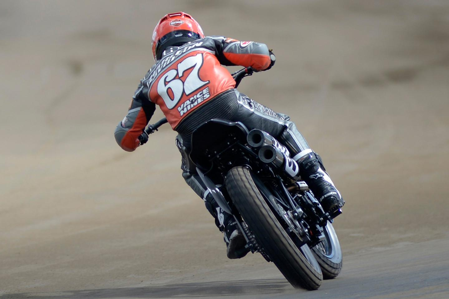 Davis Fisher while testing the new Harley-Davidson XG750R