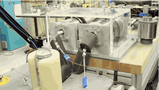 The prototype system that reduced the temperature of a water-based fluid flowing through it by 80° F (45° C)