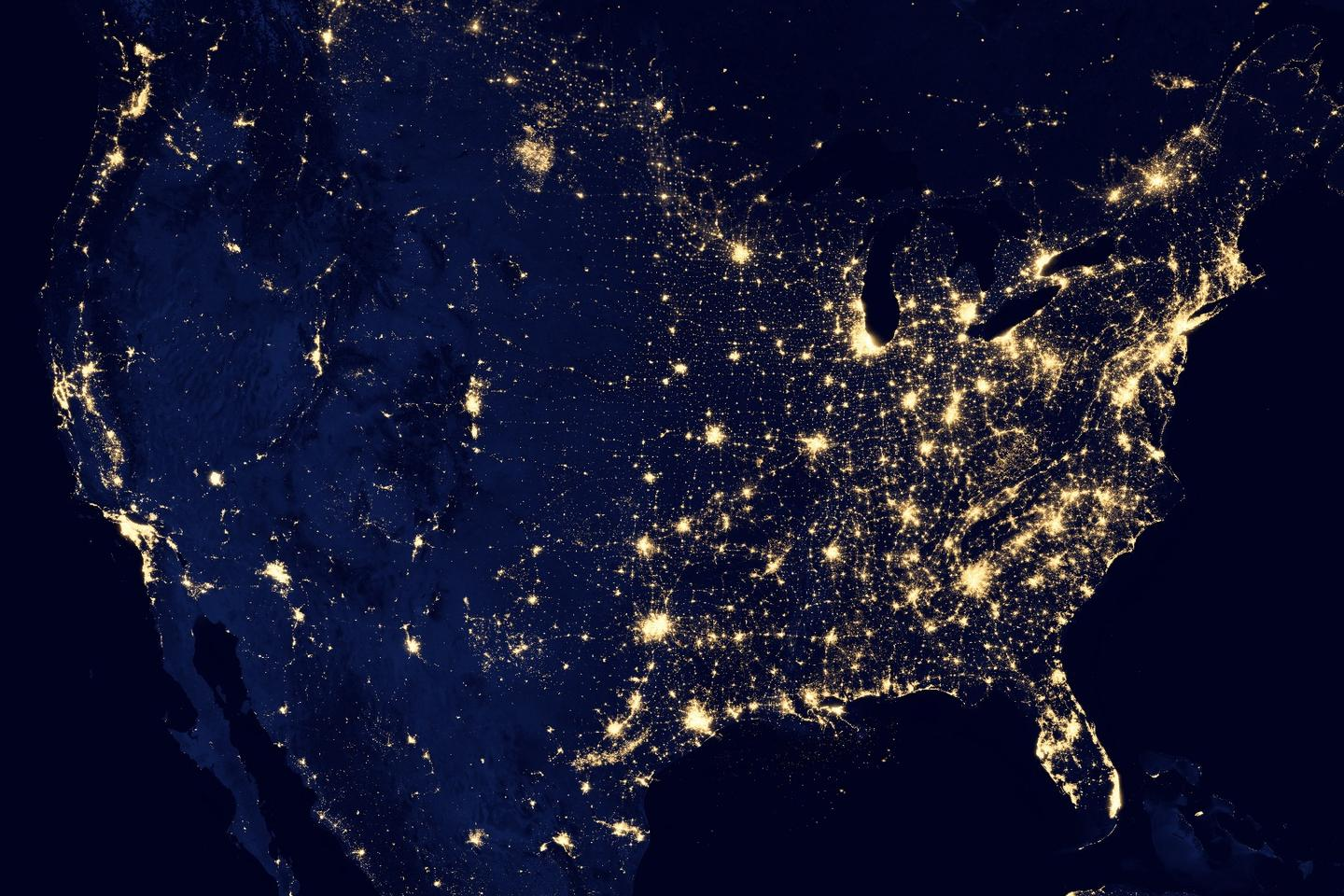 A composite image of the continental United States, as seen by the polar-orbiting Suomi NPP satellite in 2012