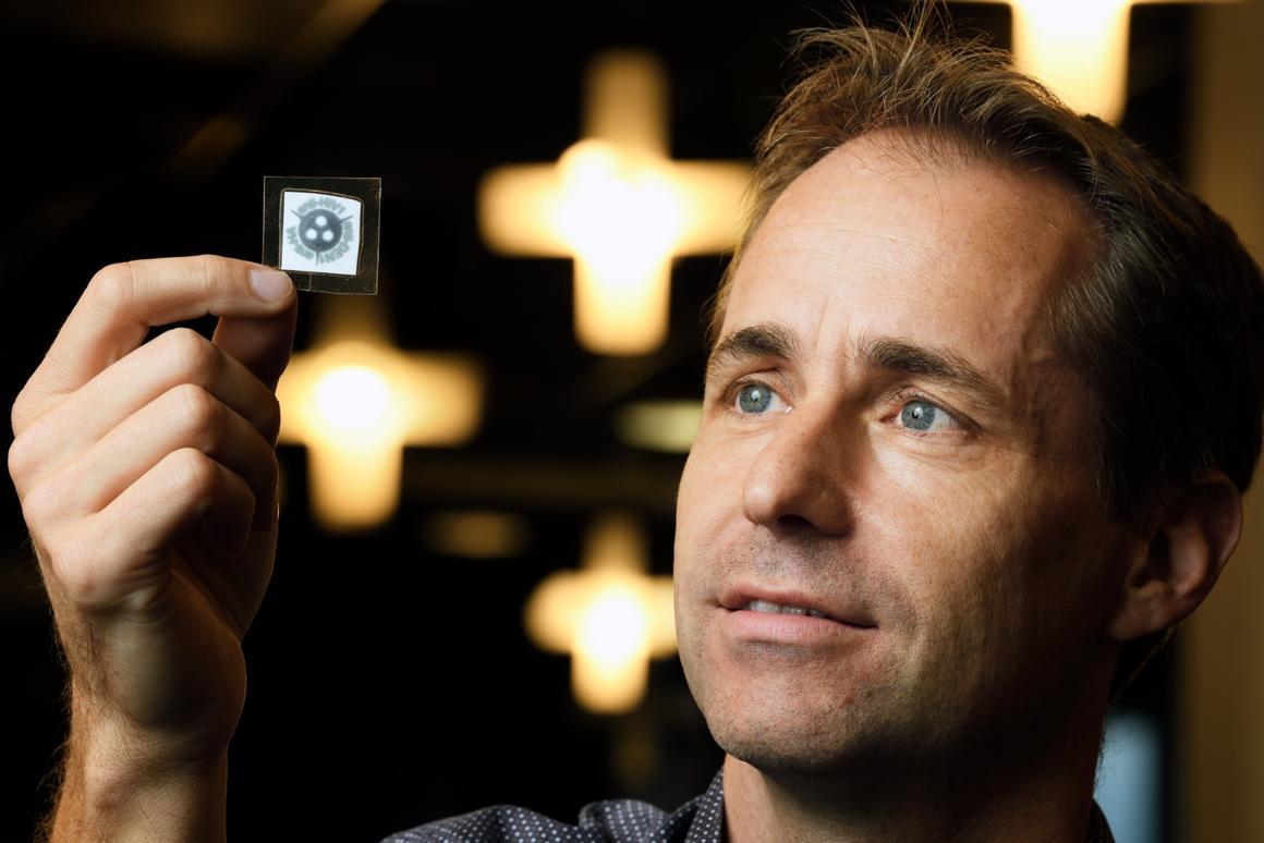 Lead scientistMaarten Merkx holds one of the test kits