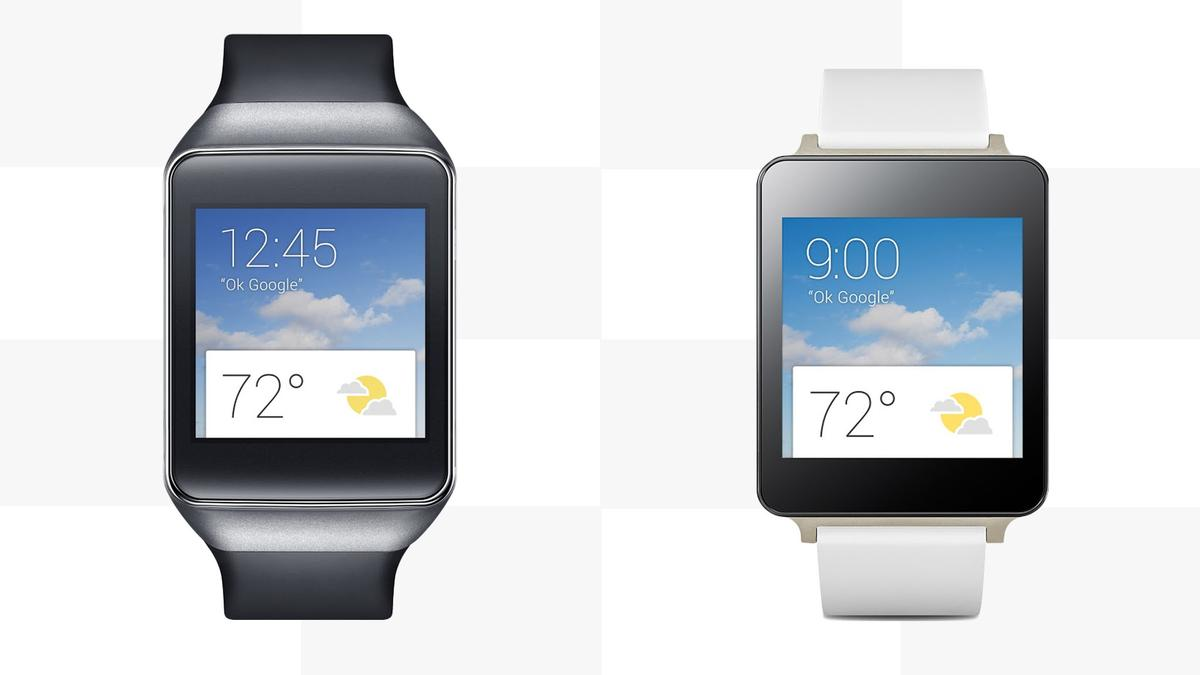 Gizmag compares the features and specs of the first two Android Wear watches, the Samsung Gear Live (left) and LG G Watch