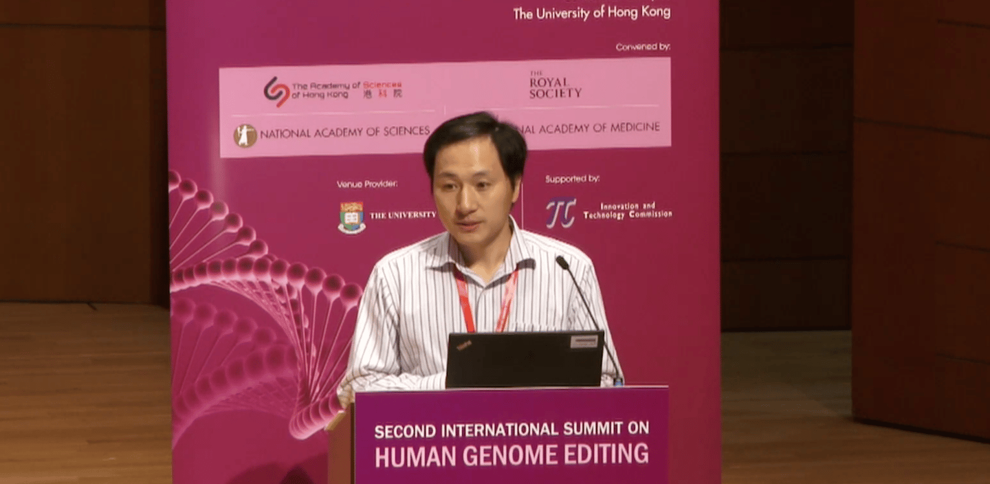 He Jiankui presenting his research on Wednesday in Hong Kong