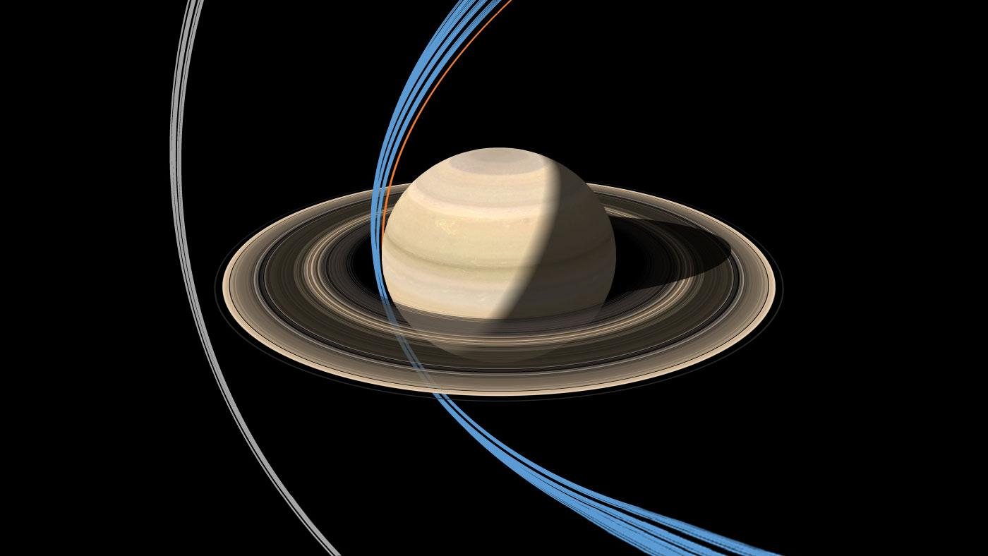 "Cassini's ring-grazing orbits, displayed in grey, alongside the ""Grand Finale"" orbits, displayed in blue – the single orange line denotes the trajectory to be taken by Cassini as it plunges into the atmosphere of Saturn in Sept. 2017"