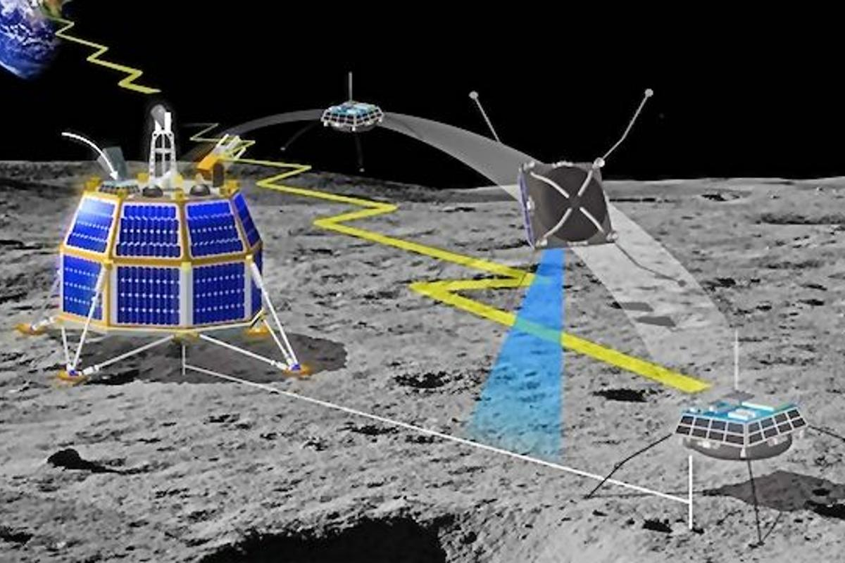 The Moon Express MX-1 lunar lander acts as a hub for activity on the lunar surface, sending forth microhoppers or microrovers to explore (Photo: Moon Express)