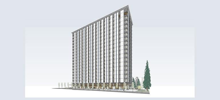 The residential tower will rise to a height of 53 m (174 ft)