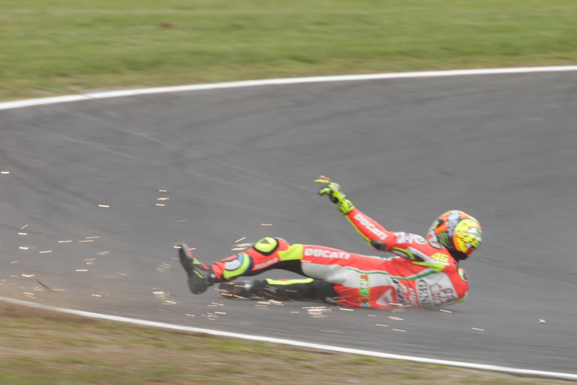 Valentino Rossi walked away unhurt from a crash in practice at the Australian round of the 2012 MotoGP (Photo: Olivier Bochsler)