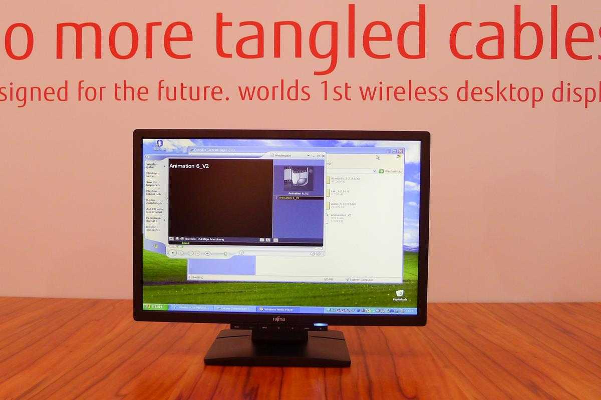 Look - no wires: the Fujitsu wireless monitor on display at CeBIT 2011