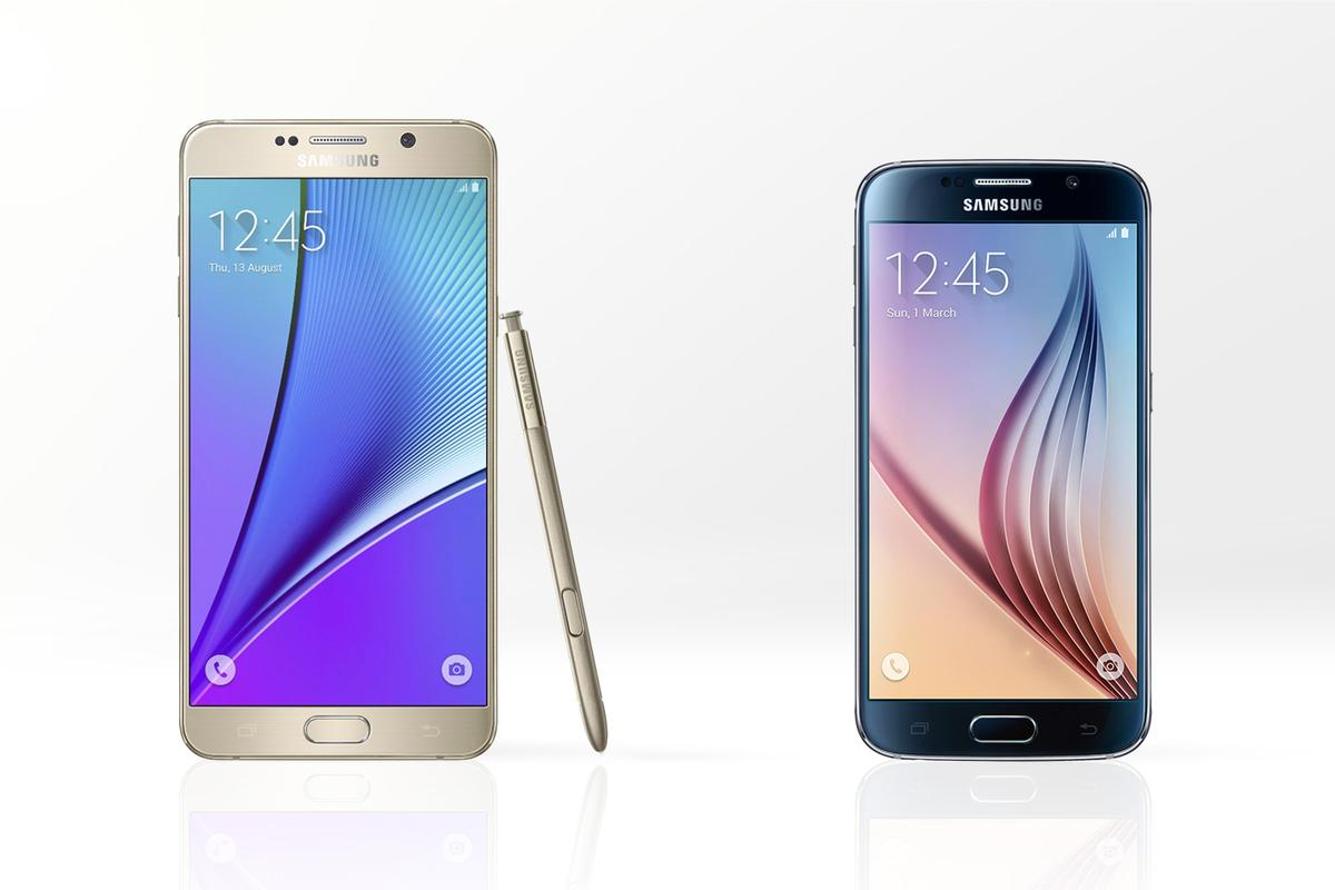 Gizmag compares the features and specs of the new Galaxy Note 5 (left) and Galaxy S6