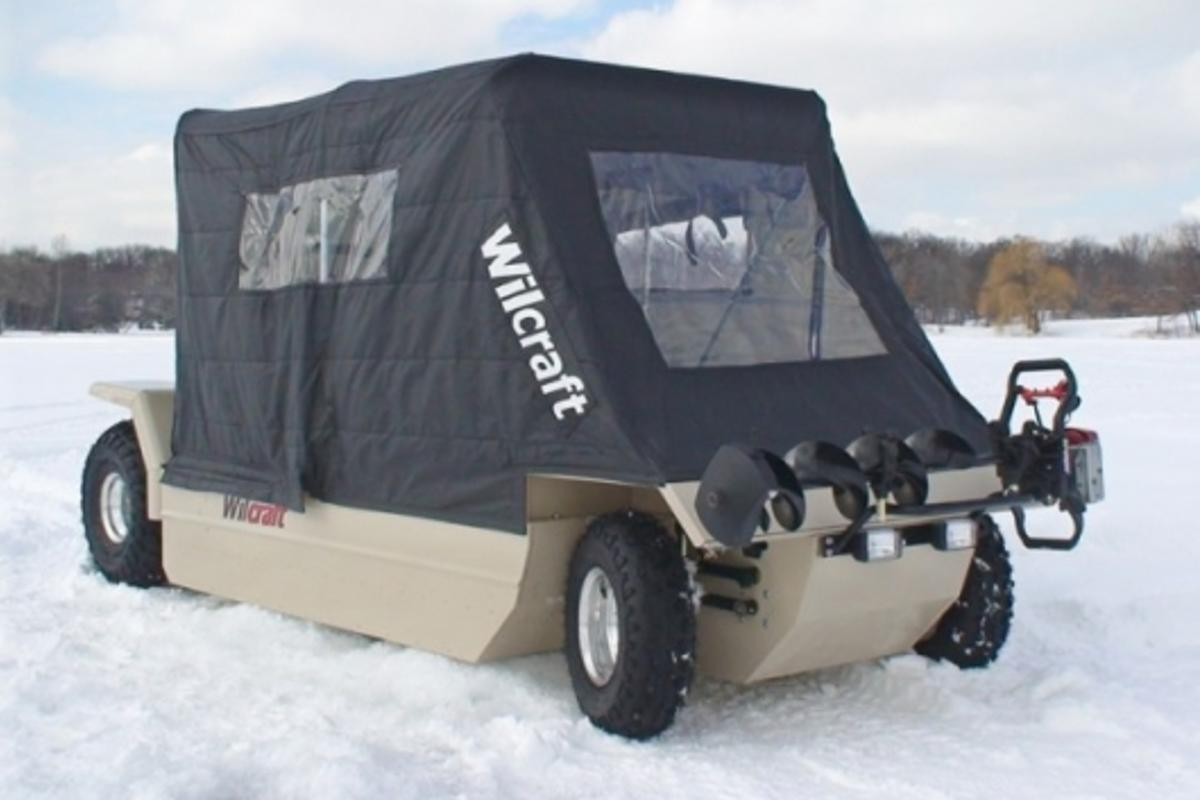 The Wilcraft amphibious mobile ice-fishing cabin