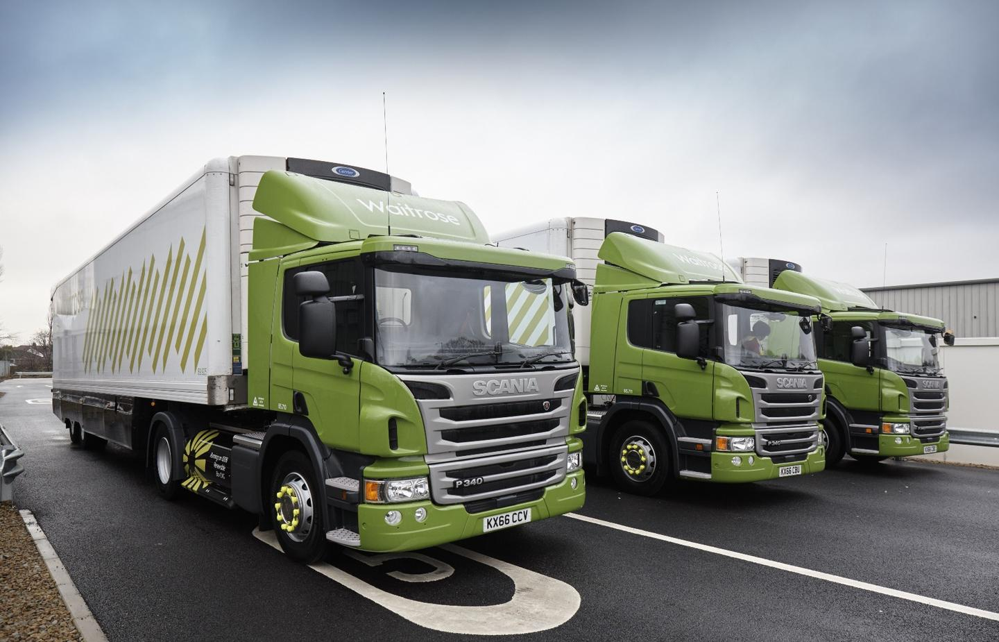 The fleet of CNG trucks being used by Waitrose for deliveries