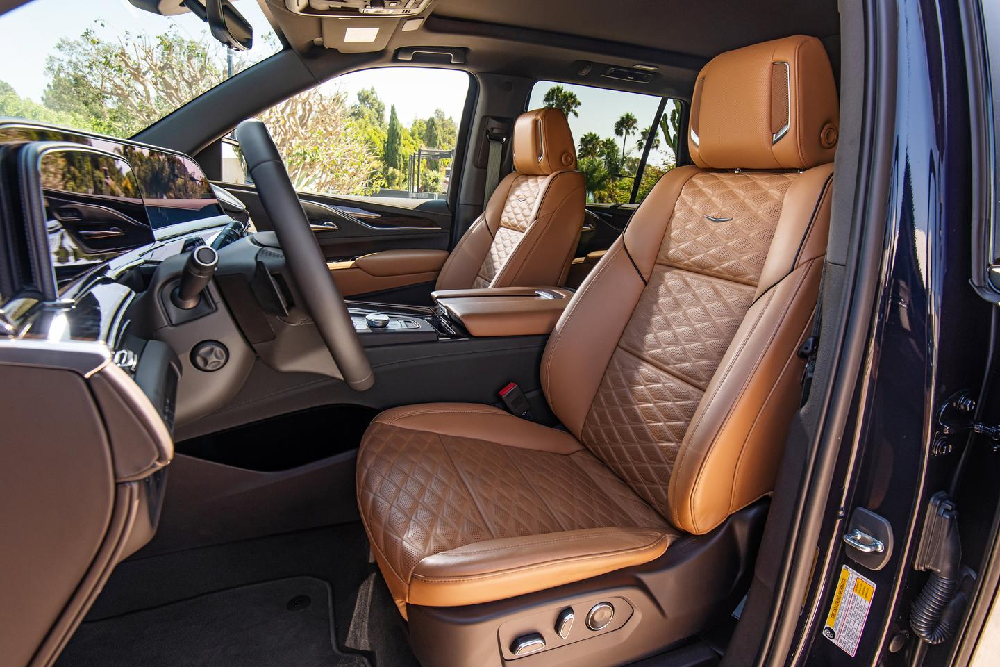 Luxury materials in the 2021 Cadillac Escalade are augmented by ergonomic touches to make the cabin more livable and usable