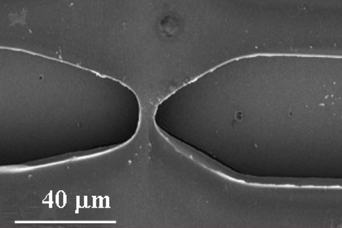 Each nanochannel electroporation device incorporates two reservoirs joined by a nanoscale channel, too small to be visible in this image (Photo: Ohio State University)
