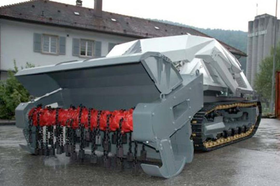 The D-3 is a robotic vehicle that uses a chain flail or tiller to detonate land mines (Photo: DIGGER DTR)