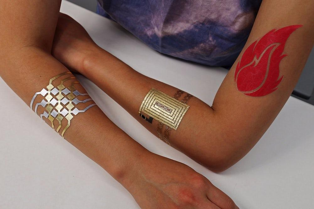 A variety of DuoSkin tattoos