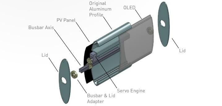 Exploded view drawing of an UrbanTile