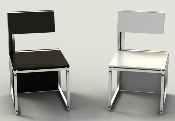 Sensei comprises two chairs -- one black, one white -- which can be converted into a coffee table by the simple process of turning and slotting