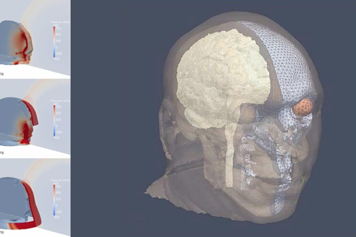 A newly-developed computer model indicates that face shields could protect soldiers from traumatic brain injuries caused by explosions (Image: Michelle Nyein)
