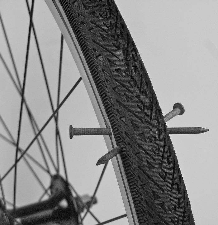 The Hutchinson Serenity tire can ride up to 3,000 miles and won't flat when punctured