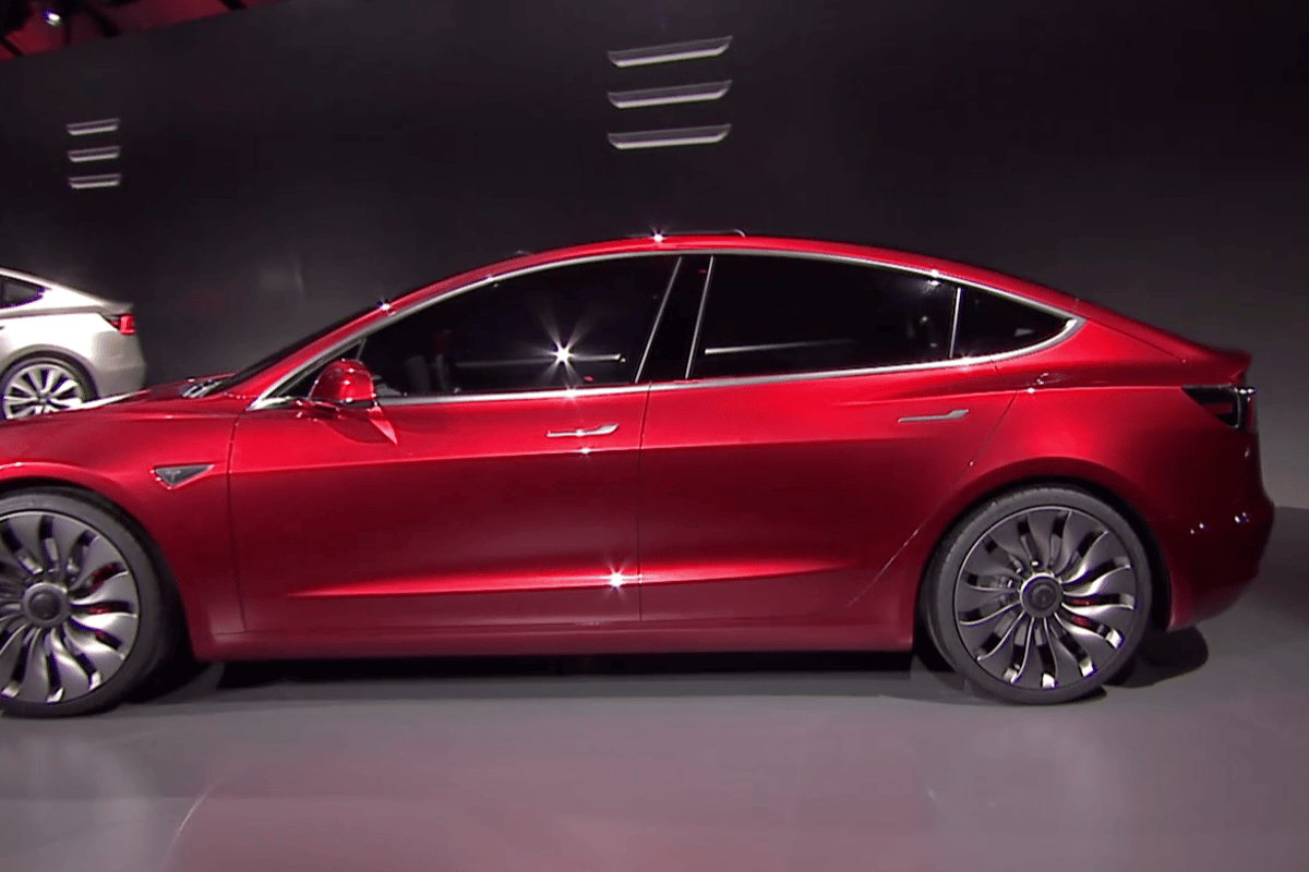 The Tesla Model 3 unveiled in California