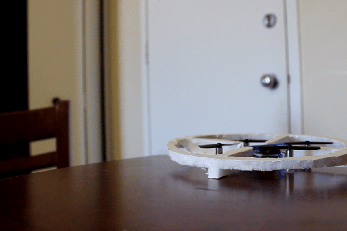 A prototype Jackie drone keeps vigil on a home while the owners are out