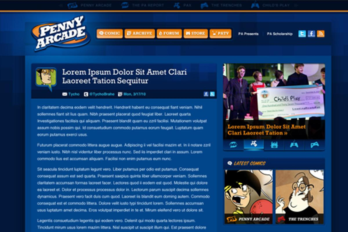 Penny Arcade's mockup of its website, minus all advertising