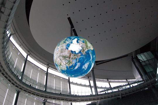 Geo-Cosmos hangs 60 feet above the floor at Tokyo's National Museum of Emerging Science and Innovation