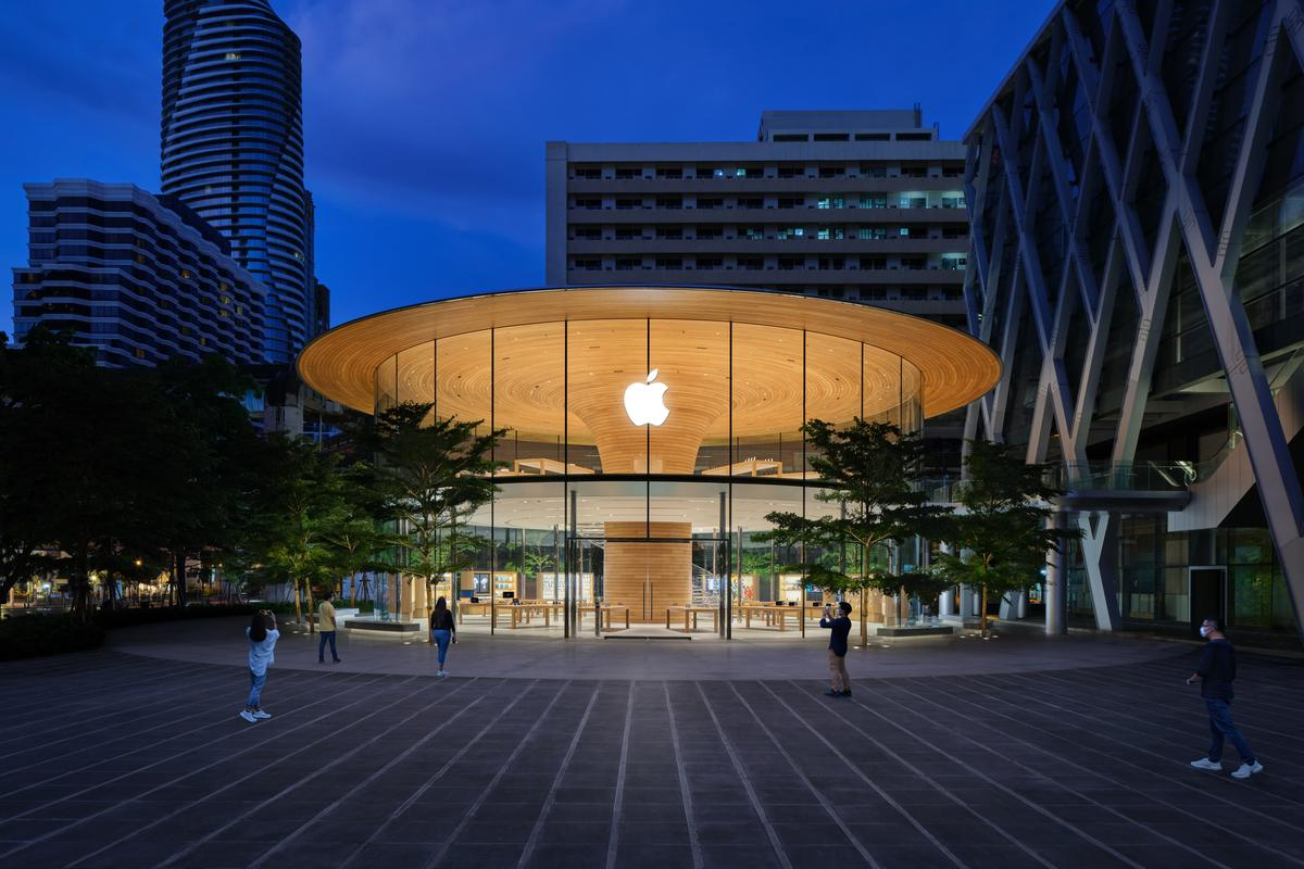 Apple Central World, by Apple and Foster + Partners, recently opened to customers in Bangkok, Thailand