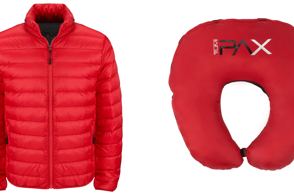 Tumi's Patrol Travel Puffer Jacket transforms into a pillow via a pouch in the collar