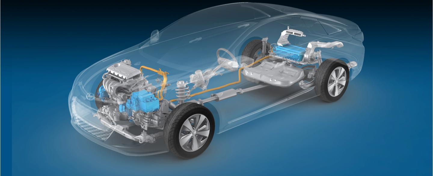 The all-new 2011 Hyundai Sonata Hybrid which can operate on an electric motor, gasoline internal combustion engine or a combination of the two