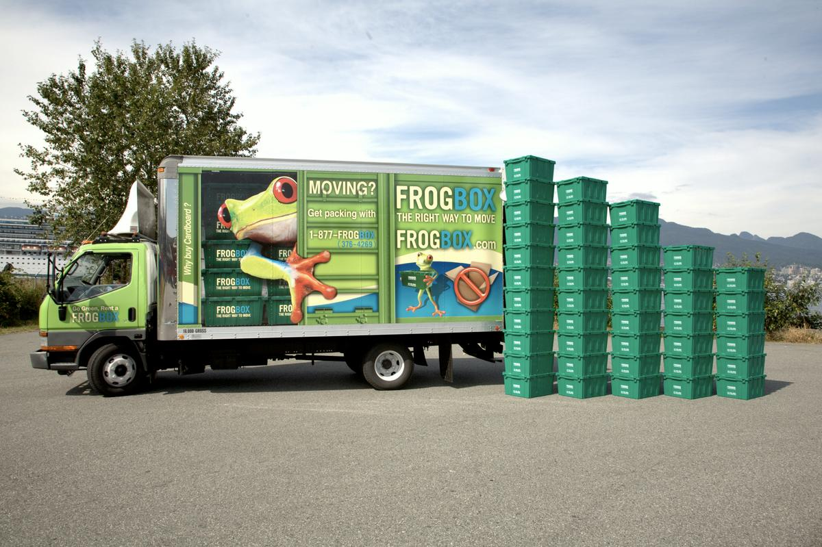 Frogboxes are reusable plastic moving boxes, that users rent in the city they're moving from and drop off in the city they're moving to
